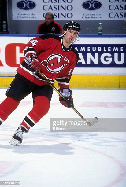 Brian Rolston of the New Jersey Devils warms up before an NHL game against the Quebec Nordiques on March 6 1995 at the Quebec Coliseum in Quebec City...
