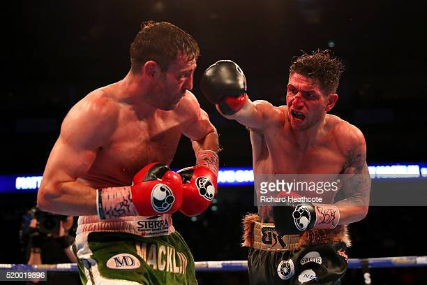 Brian Rose of England throws a punch on Matthew Macklin of England during the IBF InterContinental Middleweight title fight at The O2 Arena on April...