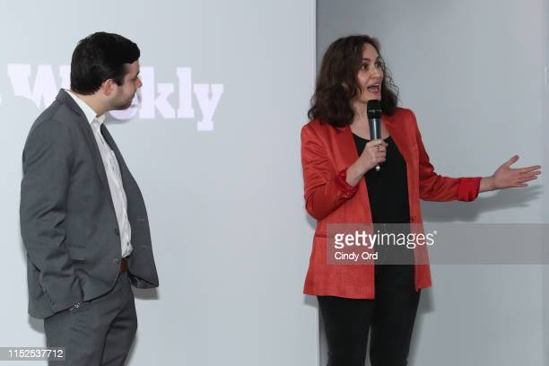 Brian Rosenthal of The New York Times and film producer Suzanne Hillinger speak during FX and The New York Times' The Weekly event at Lightbox on May...
