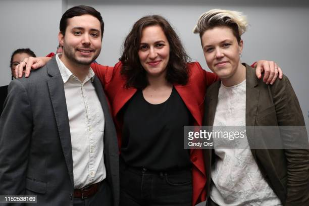 Brian Rosenthal of The New York Times film producer Suzanne Hillinger and guest attend FX and The New York Times' The Weekly event at Lightbox on May...