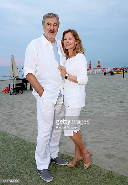 Brian Russell and Cheryl Ladd attend a private sunset reception at Minerva Beach celebrating Fight Night In Italy benefitting The Andrea Bocelli...