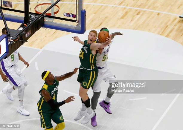 Brian Scalabrine of the Ball Hogs grabs a reboud during a game against the 3 Headed Monsters during week seven of the BIG3 three on three basketball...