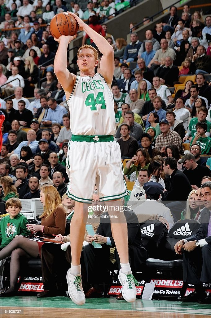 9a120cd98bb Brian Scalabrine of the Boston Celtics shoots during the game ...
