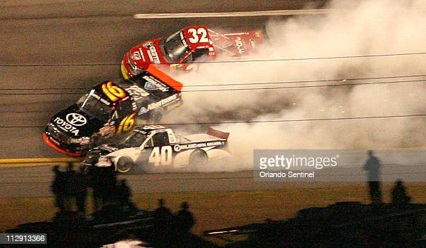 Brian Scott Chase Austin and Mike Bliss wreck during the NextEra Energy Resources 250 truck race at Daytona International Speedway on Friday evening...