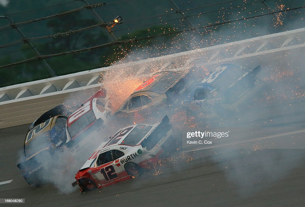 Brian Scott, driver of the #2 Armour Chevrolet, Johanna Long, driver of the #70 Foretravel Chevrolet, Sam Hornish Jr., driver of the #12 Wurth Ford, Trevor Bayne, driver of the #6 Cargill / Blackwell Angus Ford, and Ty Dillon, driver of the #33 Wesco Chevrolet, crash in turn three during the NASCAR Nationwide Series Aaron's 312 at Talladega Superspeedway on May 4, 2013 in Talladega, Alabama.