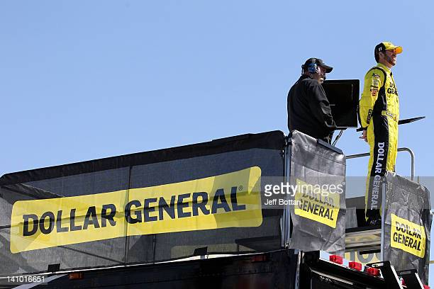 Brian Scott driver of the Dollar General Toyota overlooks the track during practice for the NASCAR Nationwide Series Sam's Town 300 at Las Vegas...