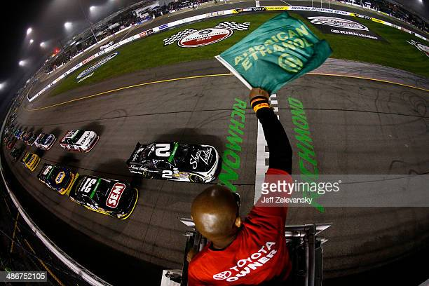 Brian Scott driver of the Shore Lodge Chevrolet and Dylan Kwasniewski driver of the Rockstar Chevrolet lead the field to the green flag to start the...