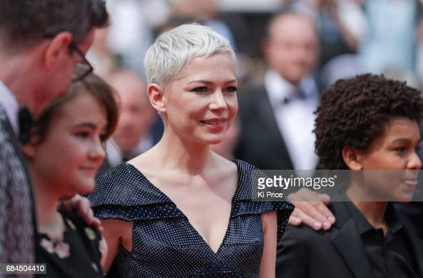 Brian Selznick Millicent Simmonds Michelle Williams and Jaden Michael attend the 'Wonderstruck' screening during the 70th annual Cannes Film Festival...