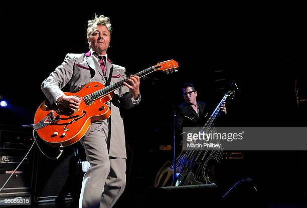 Brian Setzer and Lee Rocker of the Stray Cats perform on stage at the Forum Theatre on February 19th 2009 in Melbourne Australia