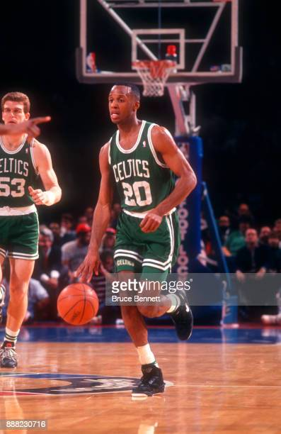 Brian Shaw of the Boston Celtics dribbles up the court during an NBA game against the Philadelphia 76ers on April 18 1991 at the Spectrum in...