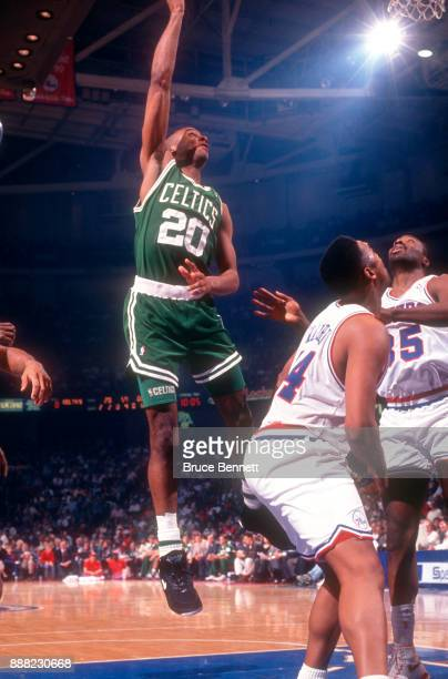 Brian Shaw of the Boston Celtics shoots the layup during an NBA game against the Philadelphia 76ers on April 18 1991 at the Spectrum in Philadelphia...