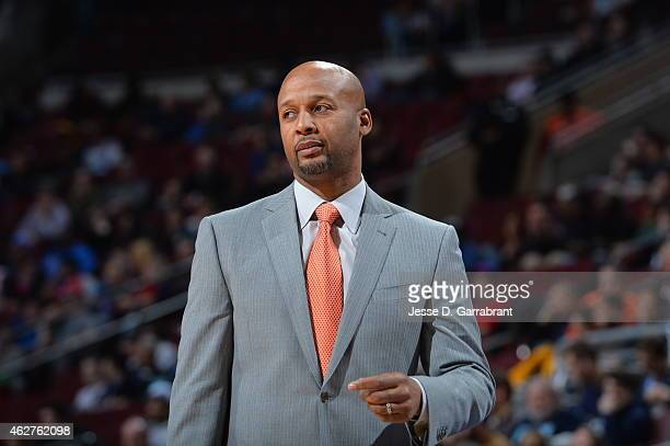 Brian Shaw of the Denver Nuggets stands on the court during a game against the Philadelphia 76ers at Wells Fargo Center on February 3 2015 in...