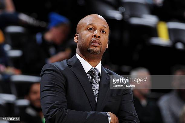 Brian Shaw of the Denver Nuggets stands on the court during a game against the Brooklyn Nets on February 23 2015 at the Pepsi Center in Denver...
