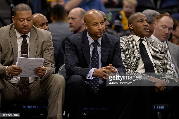 Brian Shaw of the Denver Nuggets watches his team during the second quarter of action against the Charlotte Hornets The Denver Nuggets hosted the...
