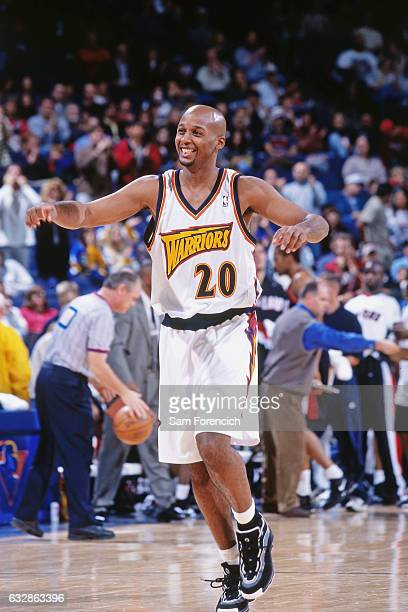 Brian Shaw of the Golden State Warriors celebrates against the Portland Trail Blazers during a game played on November 15 1997 at the Arena in...