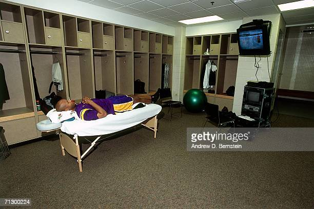 Brian Shaw of the Los Angeles Lakers relaxes in the locker room prior to playing the Indiana Pacers in Game Three of the 2000 NBA Finals played June...