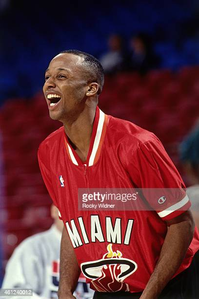 Brian Shaw of the Miami Heat laughs against the Sacramento Kings on January 9 1993 at Arco Arena in Sacramento California NOTE TO USER User expressly...
