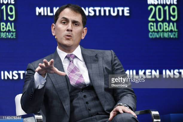 Brian Sheth cofounder and president of Vista Equity Partners speaks during the Milken Institute Global Conference in Beverly Hills California US on...