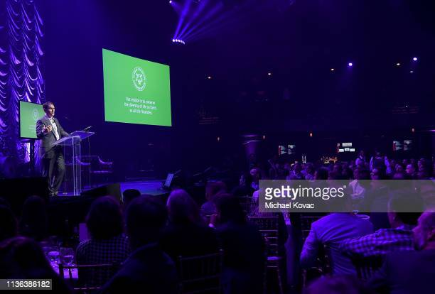 Brian Sheth CoFounder and President Vista Equity Partners and Board Chair Global Wildlife Conservation presents onstage at Global Wildlife...