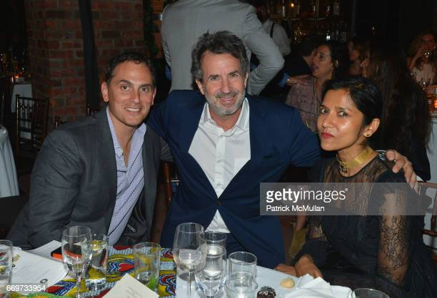 Brian Sheth Eric Goode and Tanya Selvaratnam attend The Turtle Conservancy's 4th Annual Turtle Ball at The Bowery Hotel on April 17 2017 in New York...