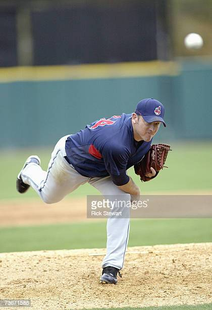 Brian Sikorski of the Cleveland Indians delivers the pitch against the Detroit Tigers during a Spring Training game on March 32007 at Joker Marchant...