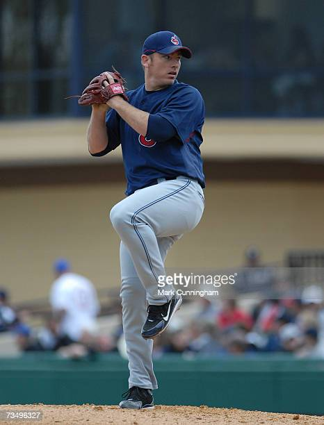 Brian Sikorski of the Cleveland Indians pitches during the game against the Detroit Tigers at Joker Marchant Stadium in Lakeland Florida on March 3...
