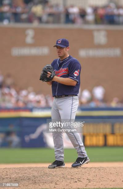 Brian Sikorski of the Cleveland Indians pitching during the game against the Detroit Tigers at Comerica Park in Detroit Michigan on August 6 2006 The...