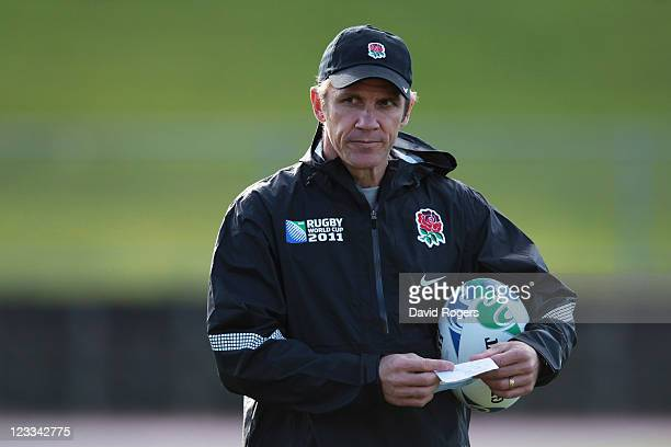 Brian Smith attack coach looks on during an England IRB Rugby World Cup 2011 training session at Mt Smart Stadium on September 2 2011 in Auckland New...