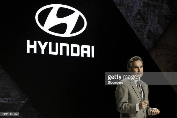 Brian Smith chief operating officer of Hyundai Motor America speaks during AutoMobility LA ahead of the Los Angeles Auto Show in Los Angeles...
