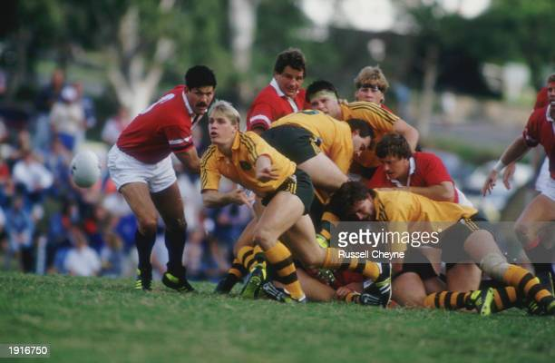 Brian Smith of Australia passes the ball out during a Rugby World Cup Pool 1 match between Australia and the USA at Ballymore, Brisbane, Australia,...