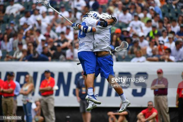 Brian Smyth of Duke Blue Devils celebrates his goal during the Division I Men's Lacrosse Semifinals held at Lincoln Financial Field on May 25, 2019...