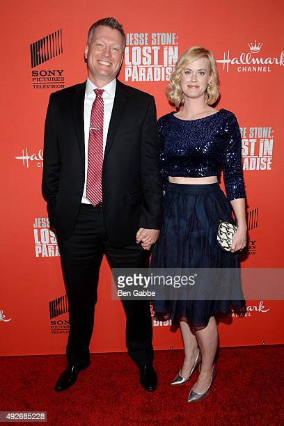 Brian Spies and actress Abigail Hawk attend the Jess Stone Lost In Paradise New York Premiere at Roxy Hotel on October 14 2015 in New York City