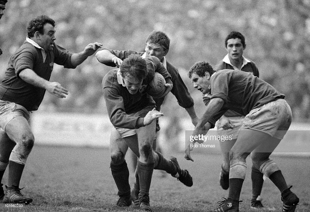 Brian Spillane of Ireland running with the ball during the Ireland v Wales Rugby Union International match played a Lansdowne Road, Dublin on the 15th February 1986. Wales won the match 19-12.