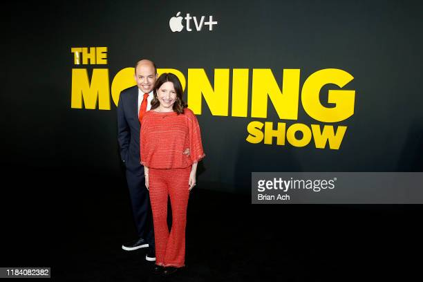 Brian Stelter and Jamie Shupak Stelter attend Apple's global premiere of The Morning Show at Josie Robertson Plaza and David Geffen Hall Lincoln...