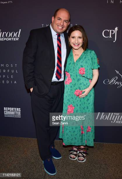 Brian Stelter and Jamie Shupak Stelter attend The Hollywood Reporter Celebrates The Most Powerful People In Media at The Pool on April 11 2019 in New...