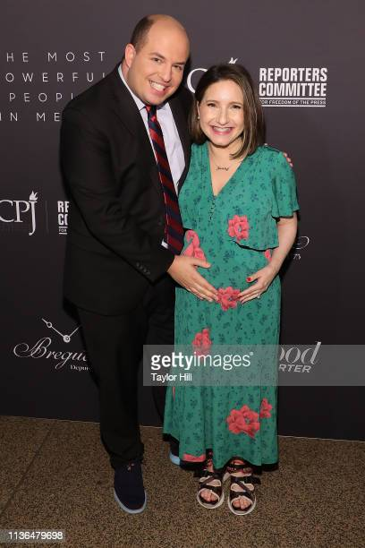 Brian Stelter and Jamie Shupak Stelter attend The Hollywood Reporter's 9th Annual Most Powerful People In Media at The Pool on April 11 2019 in New...