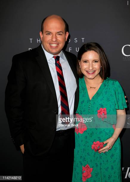 Brian Stelter and Jamie Shupak Stelter attend the The Hollywood Reporter's 9th Annual Most Powerful People In Media at The Pool on April 11 2019 in...