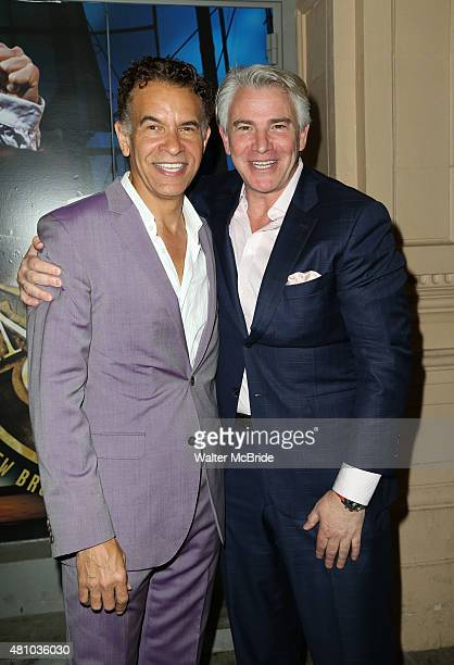 Brian Stokes Mitchell and Douglas Sills attend the Broadway Opening Night Performance of 'Amazing Grace' at the Nederlander Theatre on July 16 2015...