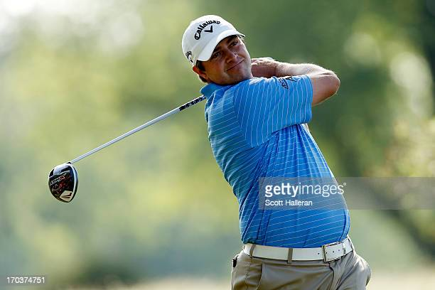 Brian Stuard of the United States hits a tee shot during a practice round prior to the start of the 113th U.S. Open at Merion Golf Club on June 12,...