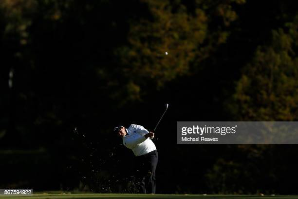 Brian Stuard plays his second shot on the 17th hole during the third round of the Sanderson Farms Championship at the Country Club of Jackson on...