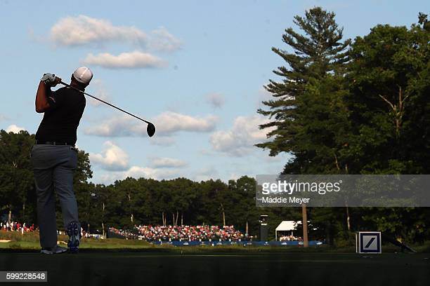 Brian Stuard plays his shot from the 18th tee during the third round of the Deutsche Bank Championship at TPC Boston on September 4, 2016 in Norton,...