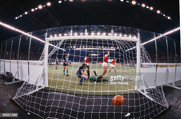 Brian Talbot beats Southampton goalkeeper Peter Shilton to score for Arsenal during their sixaside match at the National Exhibition Centre in...