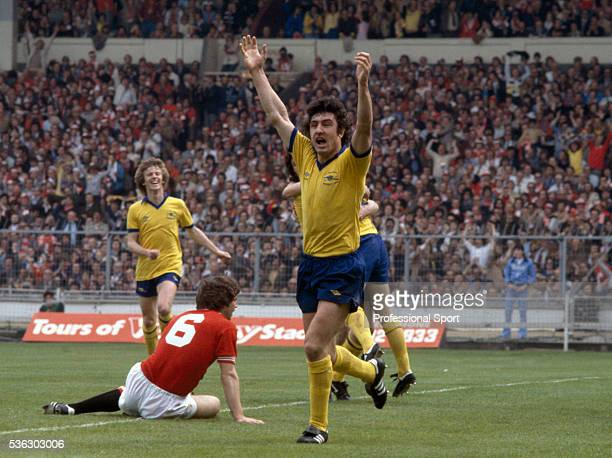 Brian Talbot of Arsenal celebrates after scoring the first goal during the FA Cup Final between Arsenal and Manchester United at Wembley Stadium in...