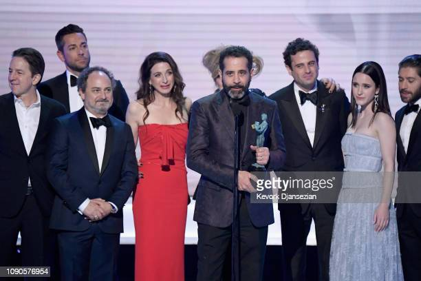 Brian Tarantina Zachary Levi Kevin Pollak Marin Hinkle Tony Shalhoub Luke Kirby Rachel Brosnahan and Michael Zegen accept the Outstanding Performance...