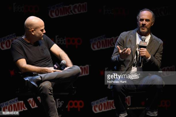 Brian Taylor and Christopher Meloni speak at The Happy Panel during 2017 New York Comic Con Day 3 on October 7 2017 in New York City