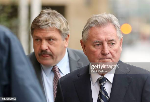 Brian Taylor and Wayne Richardson attend the Lou Richards State Funeral Service at St Paul's Cathedral on May 17 2017 in Melbourne Australia
