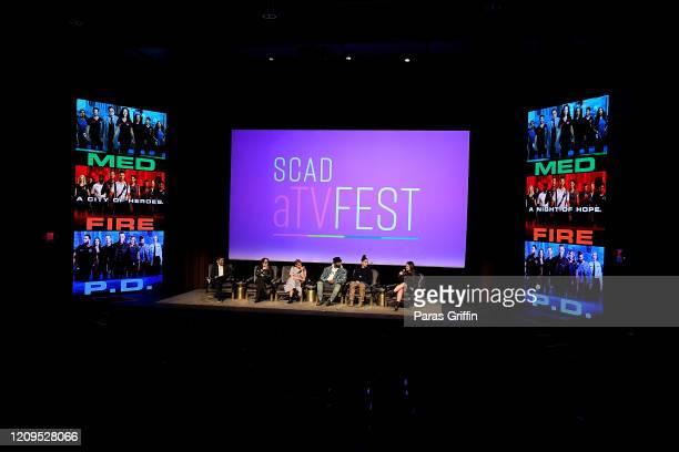 Brian Tee S Epatha Merkerson Lisseth Chavez LaRoyce Hawkins and Miranda Rae Mayo speak onstage at SCAD aTVfest 2020 The Windy City Trifecta Dick...