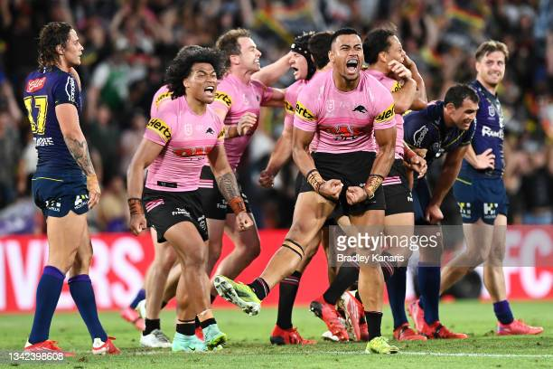 Brian To'o and Stephen Crichton of the Panthers celebrate victory during the NRL Preliminary Final match between the Melbourne Storm and the Penrith...