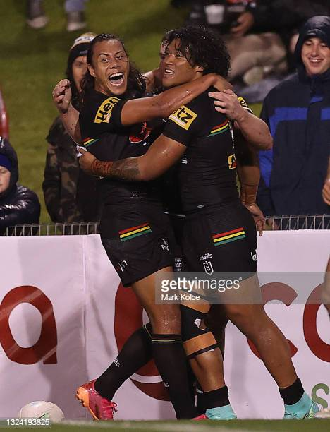 Brian To'o of the Penrith Panthers celebrates after scoring a try during the round 15 NRL match between the Penrith Panthers and the Sydney Roosters...
