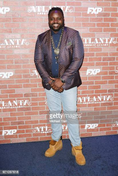 Brian Tyree Henry arrives at FX's 'Atlanta Robbin' Season' Los Angeles premiere held at Ace Theater Downtown LA on February 19 2018 in Los Angeles...